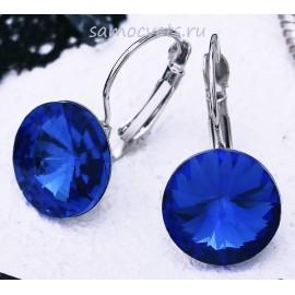 Серьги Кристаллы круг 13 мм Синие