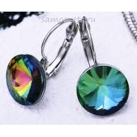 Серьги Кристаллы круг 13 мм Разноцветные (мистик)
