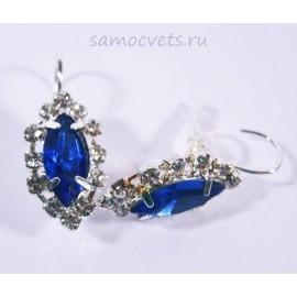 Серьги с Кристаллами огранка Маркиз Синие