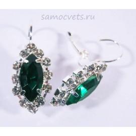 Серьги с Кристаллами огранка Маркиз Зелёные