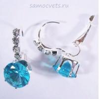 Серьги с Кристаллами Нежность Голубые