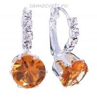 Серьги с Оранжевыми Кристаллами