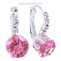 Светло - Розовые Серьги с Кристаллами Нежность