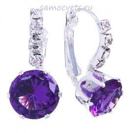 Фиолетовые Серьги с Кристаллами Нежность