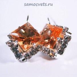 """Серьги с Кристаллами """"Кристаллина"""" Оранжевые"""