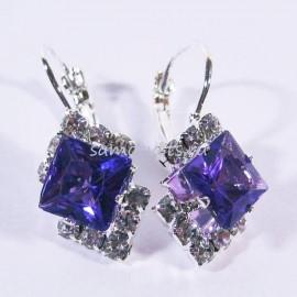 """Серьги с Кристаллами """"Кристаллина"""" Фиолетовые"""