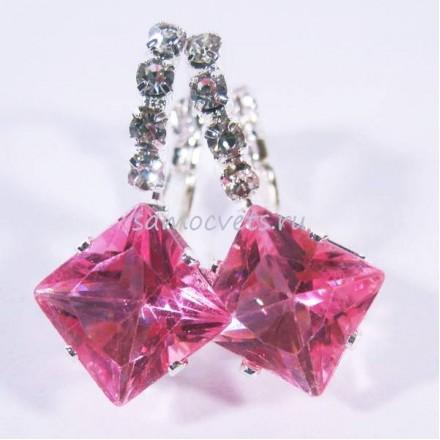 "Серьги Розовые Кристаллы ""Кристаллина"""