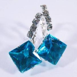 """Серьги Голубые Кристаллы """"Кристаллина"""""""