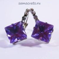 "Серьги Фиолетовые Кристаллы ""Кристаллина"""