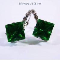 """Серьги Зелёные Кристаллы """"Кристаллина"""""""