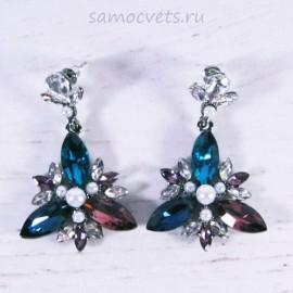Серьги - Гвоздики Кристаллы разноцветные