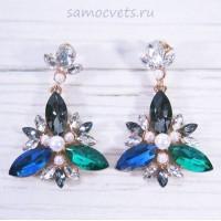 Серьги - Гвоздики разноцветные Кристаллы