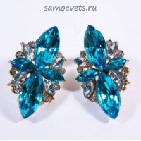 Гвоздики - Серьги Голубые Кристаллы