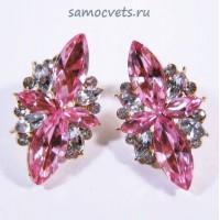 Гвоздики - Серьги Розовые Кристаллы