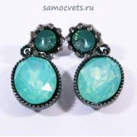 Гвоздики - Серьги Опалово - Зелёные Кристаллы