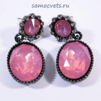 Гвоздики - Серьги Опалово - Розовые Кристаллы