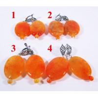 Крупные Серьги Оранжевый Агат Источник cамоцветов - 1