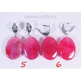 Крупные Серьги Розовый Агат Источник cамоцветов - 1