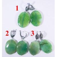 Крупные Серьги из Зелёного Агата Источник cамоцветов - 1