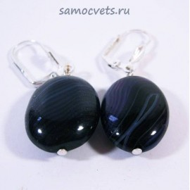 Серьги Кабошон 15х20 мм Тёмно - Фиолетовый Агат