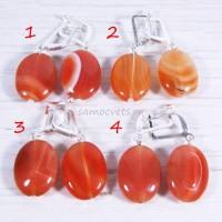 Серьги Кабошон 15х20 мм Оранжевый Агат - сердолик
