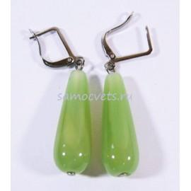 Серьги из Агата Каменные капли Светло - Зелёные