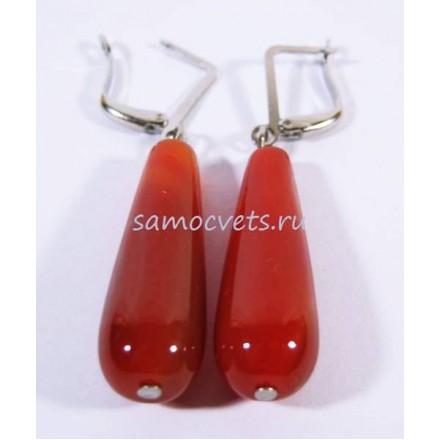 Серьги с Агатом Каменные капли Тёмно - Оранжевые