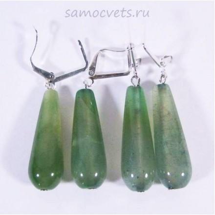 Серьги c Зелёным Агатом Каменные капли