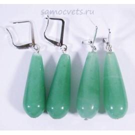 Серьги из Агата Каменные капли  Зелёные
