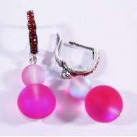 Серьги с Розовым Опалом искусств. Мир прекрасного 8-12 мм