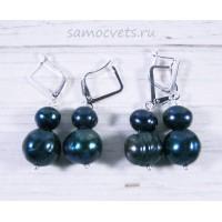 Серьги черный жемчуг Долина Самоцветов 8-11 мм