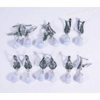 Серьги натуральный голубой агат (сапфирин) - каменные слёзы - 1