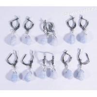 Серьги натуральный голубой агат (сапфирин) - каменные слёзы - 2