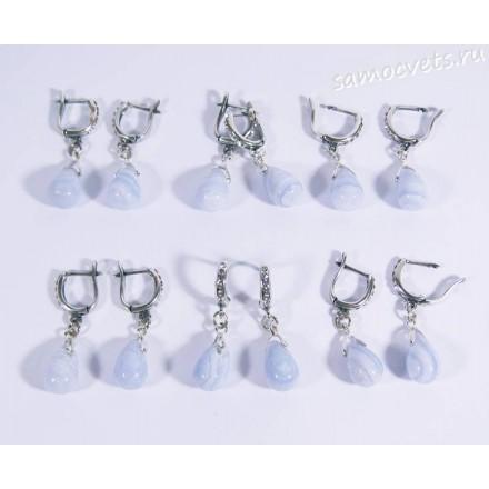 Серьги натуральный голубой агат (сапфирин) - каменные слёзы - 4