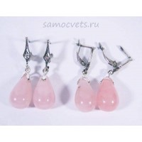 Серьги Розовый кварц каменные слёзы 2