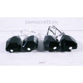 Серьги кристальные капли чёрные