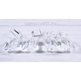 Серьги кристальные капли белые