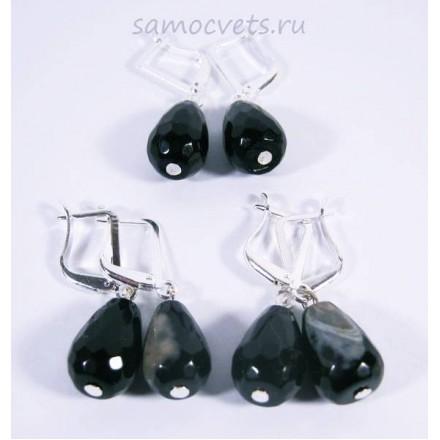 Серьги чёрно - Белый Агат каменные слёзы