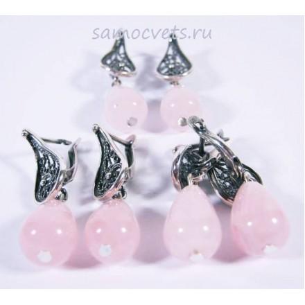 Серьги с Розовым кварцем каменные слёзы