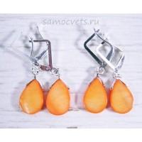 Серьги с перламутром капля - оранжевые