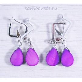 Серьги с перламутром капля - фиолетовые