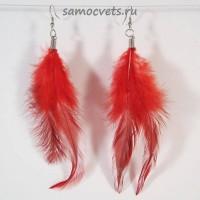 Серьги из Перьев Язык птиц Красные