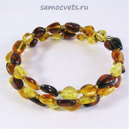 Браслет из Янтаря спиралька сливка сред. Разноцветные 2 витка