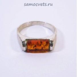 Кольцо с посеребрением Янтарь Солнечный кирпичик