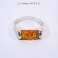 Кольцо с посеребрением Медовый Янтарь Солнечный кирпичик