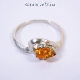 Кольцо с посеребрением Медовый Янтарь Солнечный зайчик