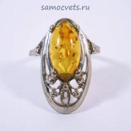 Кольцо с посеребрением Медовый Янтарь Литопад