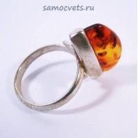 Кольцо с посеребрением Янтарь Солнечная горка