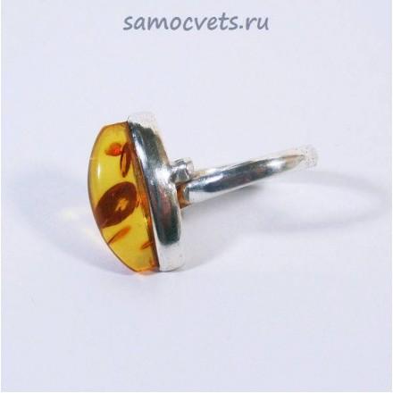 Кольцо с посеребрением Медовый Янтарь Солнечная горка
