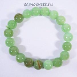 Браслет натуральный Оникс Зелёный Классика 10 мм